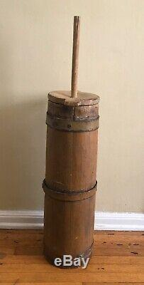 19th Cent. Stave & Iron Mustard Yellow Butter Churn, 29 tall, with Dasher & Lid
