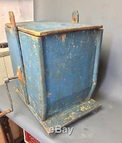 19th Century American Table Top Butter Churn with Original Blue Paint