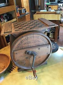 ANTIQUE ADVERTISING 1800'S PRIMITIVE WHITE CEDAR BUTTER CHURN With CHECKERBOARD