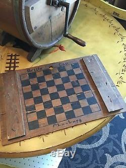 ANTIQUE ADVETISING 1800'S PRIMITIVE WHITE CEDAR BUTTER CHURN With CHECKERBOARD