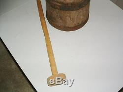 Antique Butter Churn Staved Wood Dasher 5 Band Large Primitive 19th Century