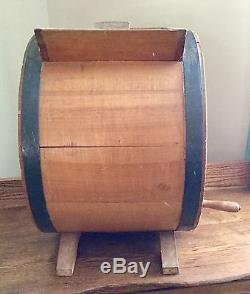 ANTIQUE CYLINDER WOODEN BUTTER CHURN HALL BROTHERS Co. HUNTINGTON NY No2 RED COW