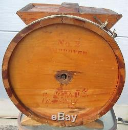 ANTIQUE CYLINDER WOOEN BUTTER CHURN HALL BROTHERS Co. HUNTINGTON NY No2 RED COW