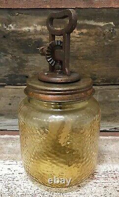 Amber Dimpled Glass Vintage-Style Butter Churn, Heavy Iron Handle, Wood Paddle