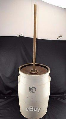 Antique 10 Gal. Butter Churn, Dasher, Crock, Stoneware, Early American