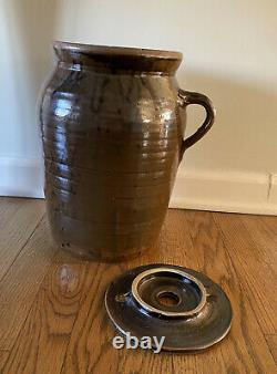 Antique 13 3 Gallon Salt Glazed Butter Churn by Millers Pottery Brent, Alabama