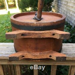 Antique 1890s Hall Bros Co. Cylinder Butter Churn West Acton Mass With Paddles