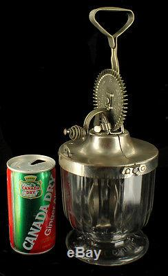 Antique 1915 Ladd Mixer Churn No. 1 Kitchen Tool Glass Bowl Hand Crank Clean