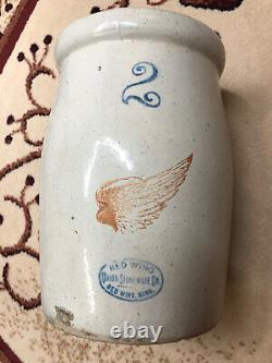 Antique 2 Gallon Redwing Butter Churn With Lid