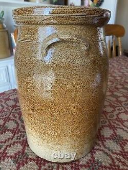 Antique 2 Gallon Salt Glazed Butter Churn with Lid. Excellent Condition. Rare