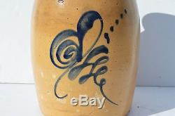 Antique 2 Gallon Stoneware Crock Butter Churn By Samuel Pewtress, New Haven, Ct
