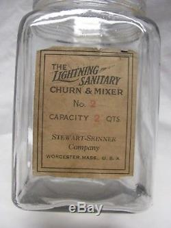 Antique 2 Quart Lightning Butter Churn with Label made by Stewart Skinner Co