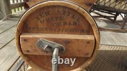 Antique 3 Gallon New Style White Cedar Cylinder Barrel Butter Churn No. 1