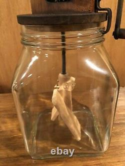 Antique 4 Qt Glass Table Top Butter Churn With UNIQUE Wooden Crank Top