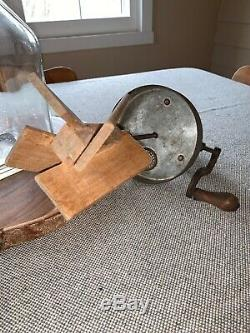 Antique 4 Quart Hand Crank Butter Churn Glass Mixer with Wooden Paddle