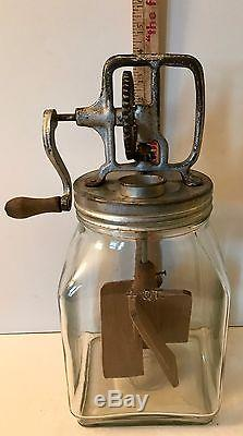Antique 4 qt. Glass Butter Churn with Metal Gear Handle Original Wood Paddles