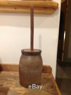 Antique Butter Churn Crock withLid Vintage Stoneware Pottery Primitive DBox2
