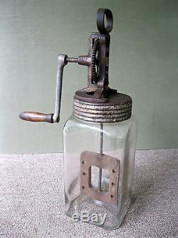 Antique Churn 4 Liter, GERMANY Glass Butter with Original Lid & Wood Paddle