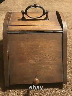 Antique Coal Scuttle Wooden Box withSteel Liner Bucket Brass Handle Stove Tool