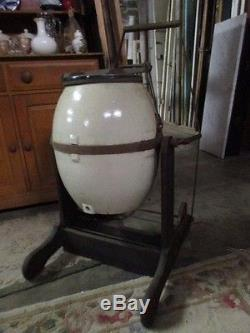 Antique Commercial Butter Churn Crock style 10 gallon on metal stand VERY RARE