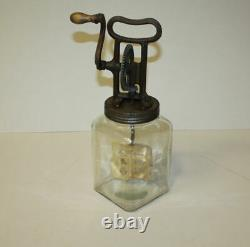 Antique Culinary Manufacturing Company Glass Butter Churn