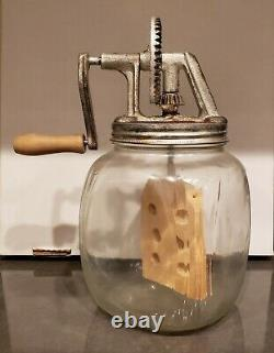 Antique Dazey Glass Butter Churn with Wood Paddle