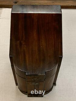 Antique English Georgian Mahogany Wood Knife Box Cutlery Chest With Insert