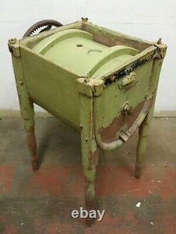 Antique Geared Floor Standing Butter Churn, Lime Green Painted Wood & Cast Iron
