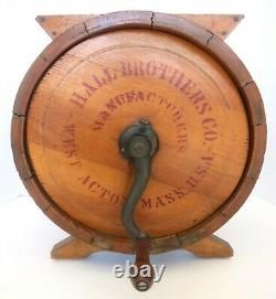 Antique Hall Brothers Wooden Cylinder Crank Butter Churn #1
