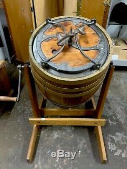 Antique J. M. Dermaid Rockford ILL Barrel Butter Churn with Wooden Stand Circa 1900
