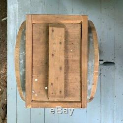 Antique New Style White Cedar Cylinder Barrel Butter Churn, 3 Gallon, WITH TOOLS