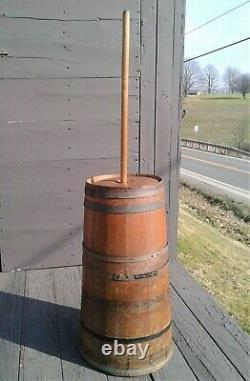 Antique Oak Tall Dasher Butter Churn with Lid and Dasher Primitive 1880s Era