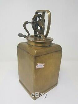 Antique Old Brass Box BUTTER CHURNER Mechanical Gear Campaign Decorative NH5461