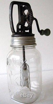 Antique Presto Glass Butter Churn with Metal Paddle 1 or 2 QT with KNOX mason jar