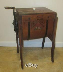 Antique Primitive 7 Gal No 2 RUN EASY Bent Wood Advertising Butter Churn SIMMONS