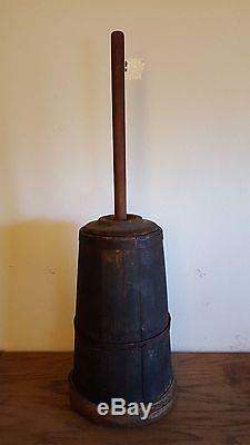 Antique Primitive Butter Churn Dasher In Early Green Paint
