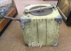 Antique Primitive Butter Churn Wooden Box Cube with Crank witho frame