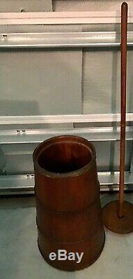 Antique Primitive Staved Wood Country Farm Butter Churn w. Plunger