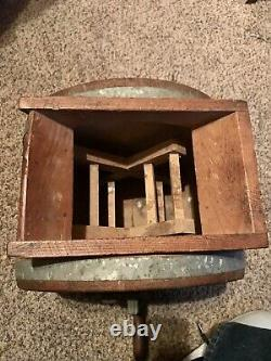 Antique Primitive Table Top Butter Churn With Original Finish And Stenciling