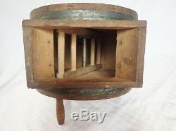 Antique Primitive Wood Wooden No 0 Butter Churn With Cow Stencil Hall Brothers