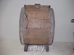 Antique Primitive Wooden Barrel Hand Cranked Butter Churn made by R. C. W