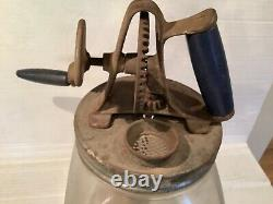 Antique Style Glass Hand Crank 4 Quart Butter Churn used but Good Condition