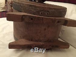 Antique Table Top Staved Wooden Butter Churn