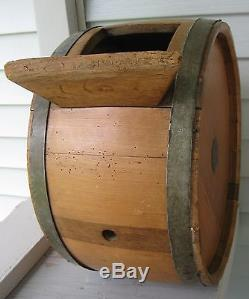 Antique Unique Cylinder Butter Churn Footed, Crank Handle, Wood Paddle
