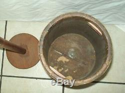 Antique Wooden Butter Churn With 4 Brass Bands Great Primitive Condition