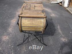 Antique Wooden Swing Butter Churn On Metal Stand 32 High 15 Without Stand