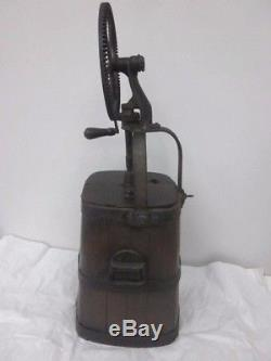 Antique butter churn, wood and cast iron. Early 1900's