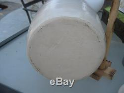 Awesome Vintage Antique Stoneware Butter Churn with Lid and Wood Churn Stick