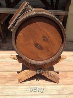 Beautiful Condition Antique Wood Barrel Butter Churn With Stand