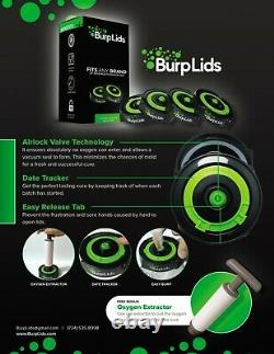 Burp Lids (36 pack) Fits All Wide Mouth Mason Jar Containers + Free Pump